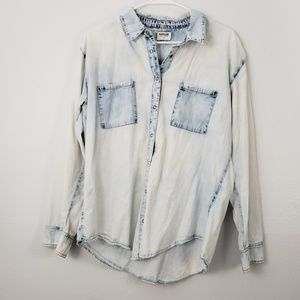 Garage Acid Wash Chambray Button Front Top
